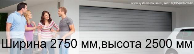 Гаражные секционные ворота Alutech TREND ширина 2750 мм, высота 2500 мм