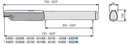Габаритные размеры привода в комплекте Came Ati 5000