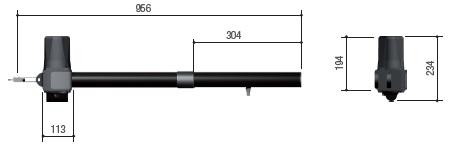 Габаритные размеры привода для распашных ворот CAME KR310D
