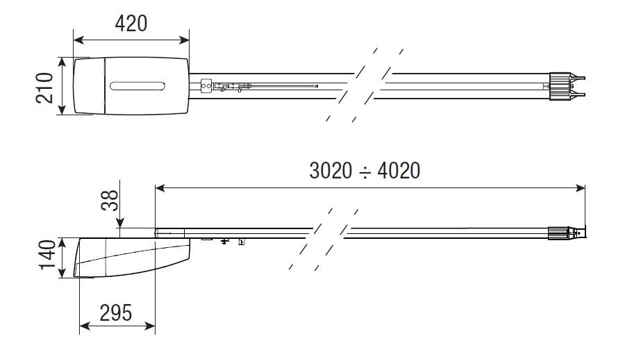 Габаритные размеры CAME VER 10 (мм)