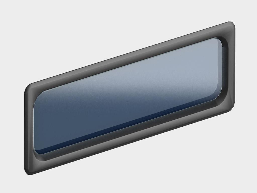 Окно акриловое 607х202, черное (арт. DH85602). Специальная конструкция обеспечивает плотное прилегание к полотну ворот, что защищает его от промерзания и теплопотери. Окантовка черного цвета.
