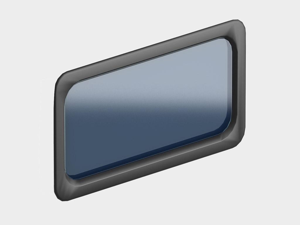 Окно акриловое 635х330, черное, промышленное (арт. DH85603). Специальная конструкция обеспечивает плотное прилегание к полотну ворот, что защищает его от промерзания и теплопотери. Окантовка черного цвета.