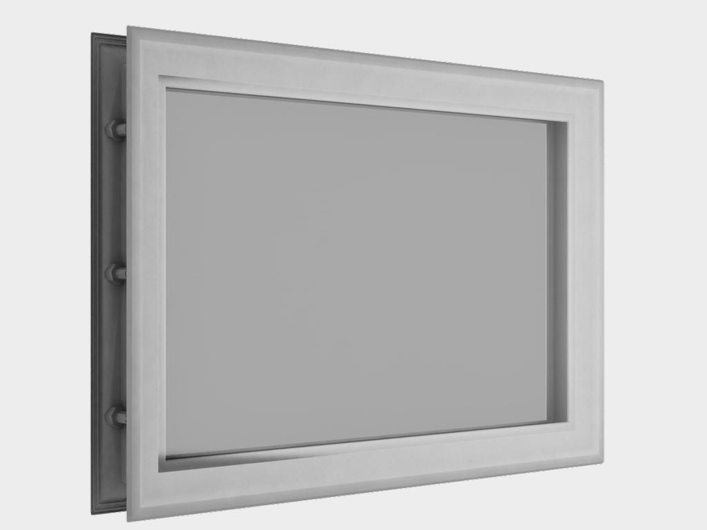 Окно акриловое 452х302, белое (арт. DH85626). Специальная конструкция обеспечивает плотное прилегание к полотну ворот, что защищает его от промерзания и теплопотери. Окантовка белого цвета.