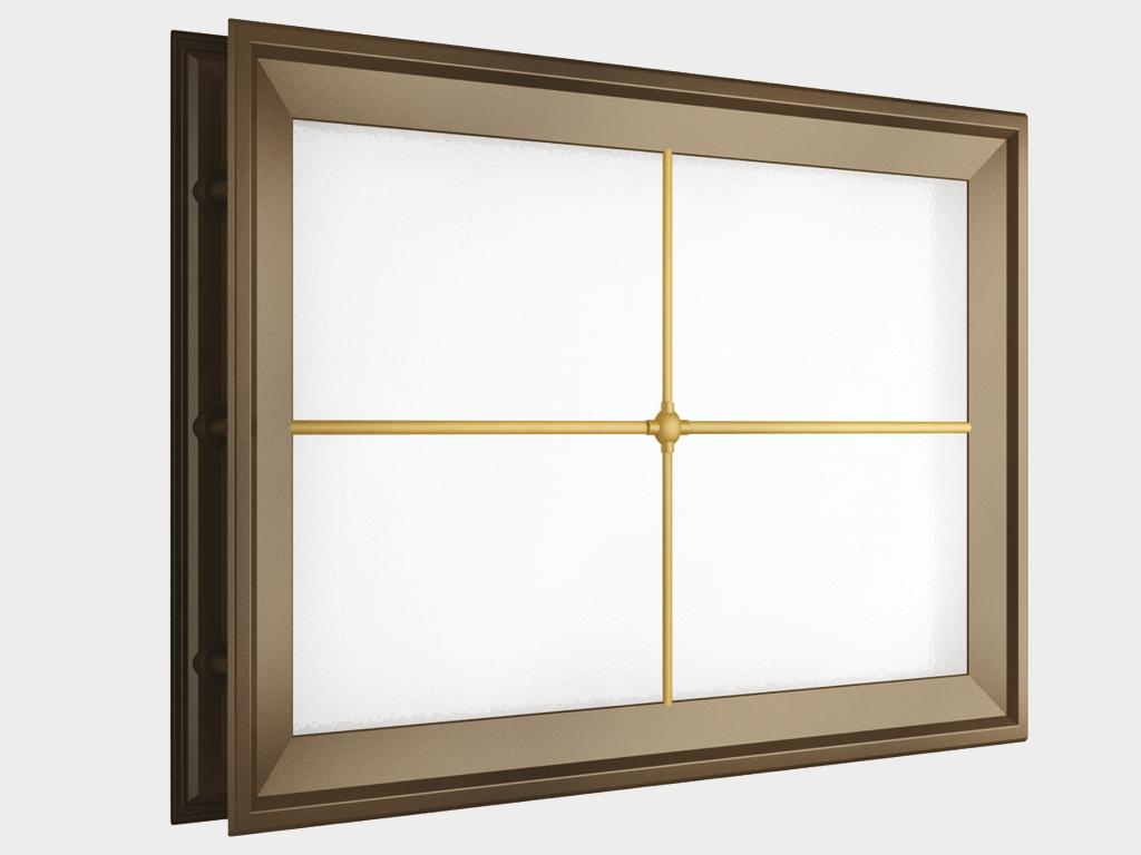 Окно акриловое 452х302, коричневое с раскладкой «крест» (арт. DH85628). Специальная конструкция обеспечивает плотное прилегание к полотну ворот, что защищает его от промерзания и теплопотери. Стилистическая вставка в форме креста. Окантовка коричневого цвета.