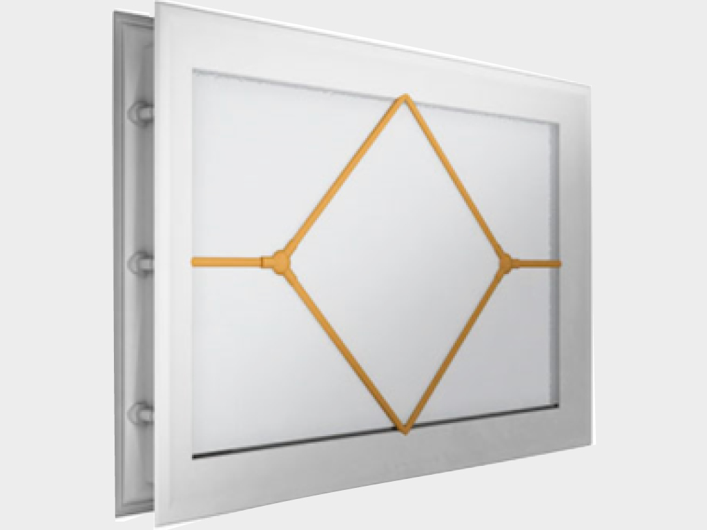 Окно акриловое 452х302, белое с раскладкой «ромб» (арт. DH85629). Специальная конструкция обеспечивает плотное прилегание к полотну ворот, что защищает его от промерзания и теплопотери. Стилистическая вставка в форме ромба. Окантовка белого цвета.