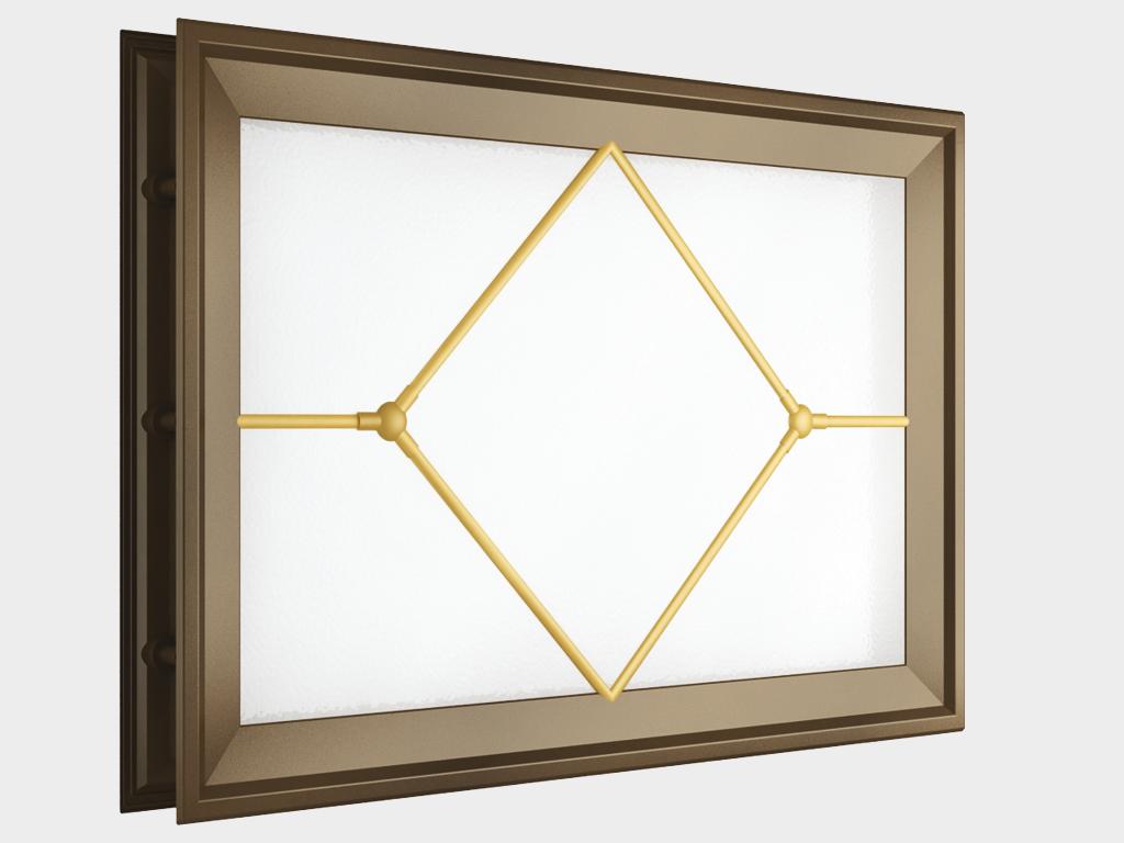 Окно акриловое 452х302, коричневое с раскладкой «ромб» (арт. DH85629). Специальная конструкция обеспечивает плотное прилегание к полотну ворот, что защищает его от промерзания и теплопотери. Стилистическая вставка в форме ромба. Окантовка коричневого цвета.