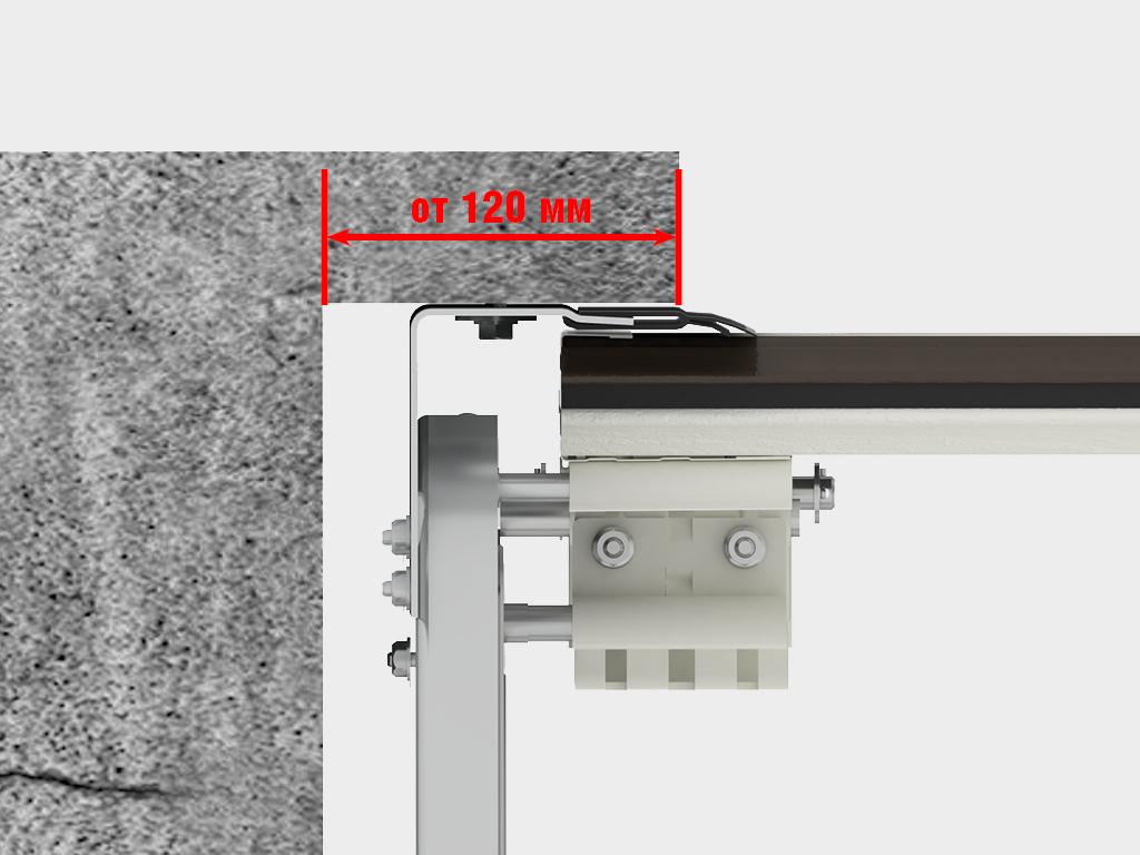 Накладной монтаж на проем (классический тип монтажа). Система направляющих монтируется на пристенки и притолоку с внутренней стороны проема.