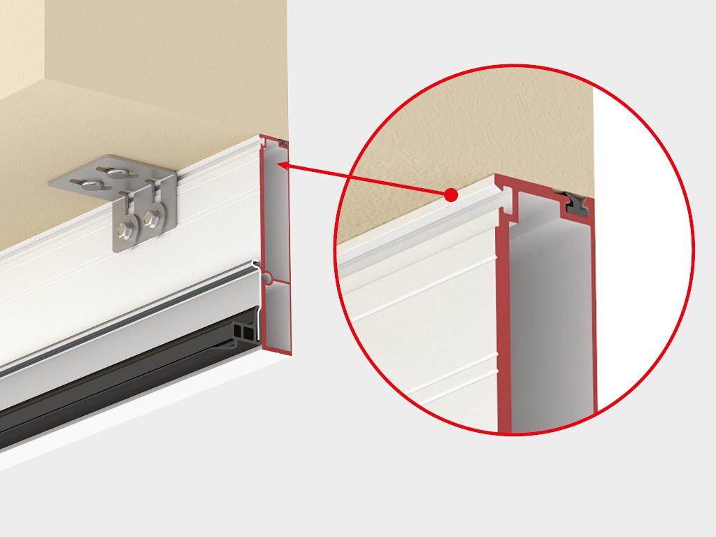 Встроенный монтаж встык с проемом (при отсутствии пристенков). Несущий наличник устанавливается встык с проемом. На него монтируется система направляющих. Система регулируемых кронштейнов позволяет нивелировать неровности стен. Несущий наличник имеет эстетичный внешний вид, выполнен в 2 цветовых решениях - RAL 9003 (белый) и RAL 8014 (коричневый).