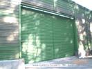 Откатные двухстворчатые сдвижные сварные ворота, заполнение профнастил