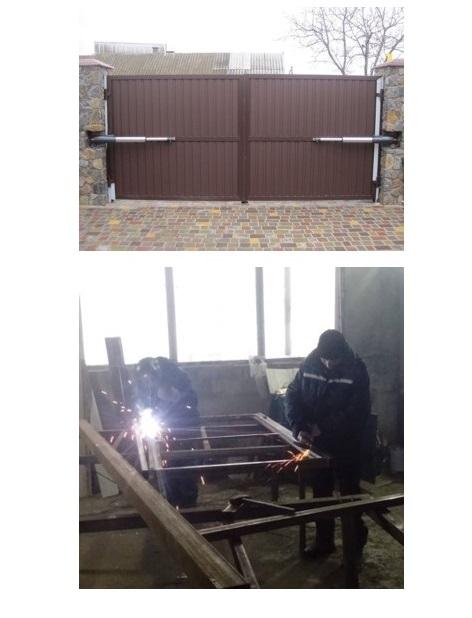 Сварные распашные ворота, заполнение профлист